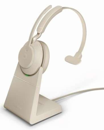 Jabra Evolve2 65 Link380a MS Mono Stand Beige Bluetooth NC Headset inkl. Deskstand & Link 380 USB-A