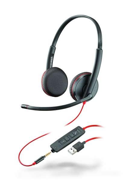 Poly Blackwire C3225 USB-A & 3,5mm Klinke Duo NC Headset mit CallControl für UC/Microsoft