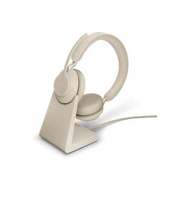 Jabra Evolve2 65 Link380a MS Stereo Stand Beige Bluetooth NC Headset inkl. Deskstand & Link 380 USB-