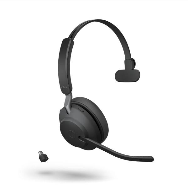 Jabra Evolve2 65 Link380c UC Mono Black Bluetooth NC Headset inkl. Link 380 USB-C UC BT Dongle an PC
