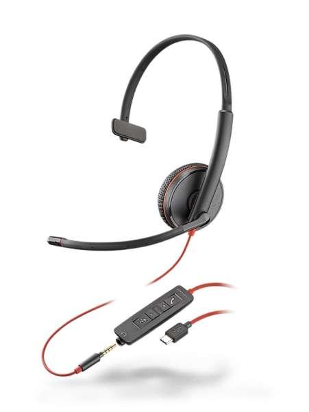 Poly Blackwire C3215 USB-C & 3,5mm Klinke Mono NC Headset mit CallControl für UC/Microsoft