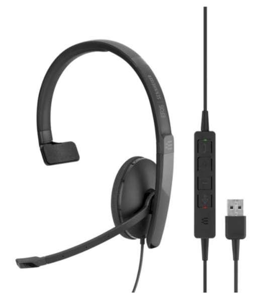 EPOS | SENNHEISER ADAPT SC 130 USB ML/UC Mono NC Headset mit CallControl für UC/Microsoft