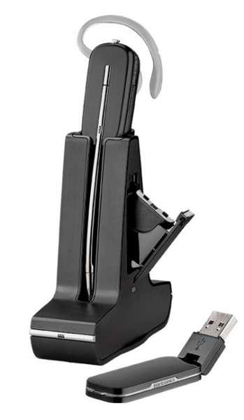 Poly Savi W445-M Konvertible DECT NC Headset mit D100 DECT USB Dongle mit Zusatzakku für PC Softphon