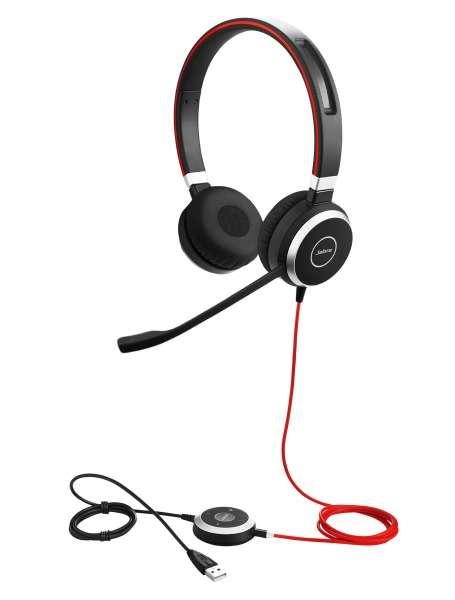 Jabra Evolve 40 MS Duo USB & 3,5mm Klinke NC Headset mit Busylight & CallControl für Microsoft