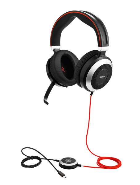 Jabra Evolve 80 UC Duo ANC USB-C & 3,5mm Klinke NC Headset mit Active Noise Cancellation, Busylight