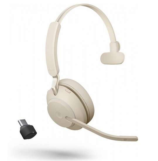 Jabra Evolve2 65 Link380c MS Mono Beige Bluetooth NC Headset inkl. Link 380 USB-C MS Teams BT Dongle