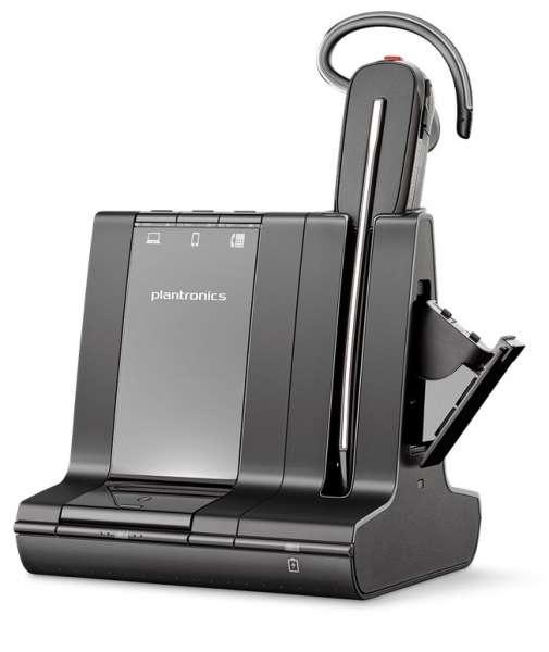 Poly Savi 8245-M Konvertible Office DECT NC Headset mit Zusatzakku für Festnetz, PC Softphone und Mo