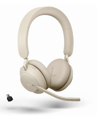 Jabra Evolve2 65 Link380c UC Stereo Stand Beige Bluetooth NC Headset inkl. Deskstand & Link 380 USB-
