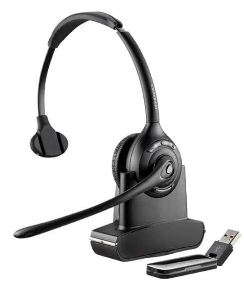 Poly Savi W410-M Mono DECT NC Headset mit D100 DECT USB Dongle für PC Softphone für Microsoft