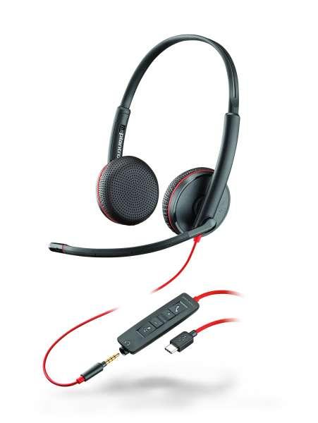 Poly Blackwire C3225 USB-C & 3,5mm Klinke Duo NC Headset mit CallControl für UC/Microsoft