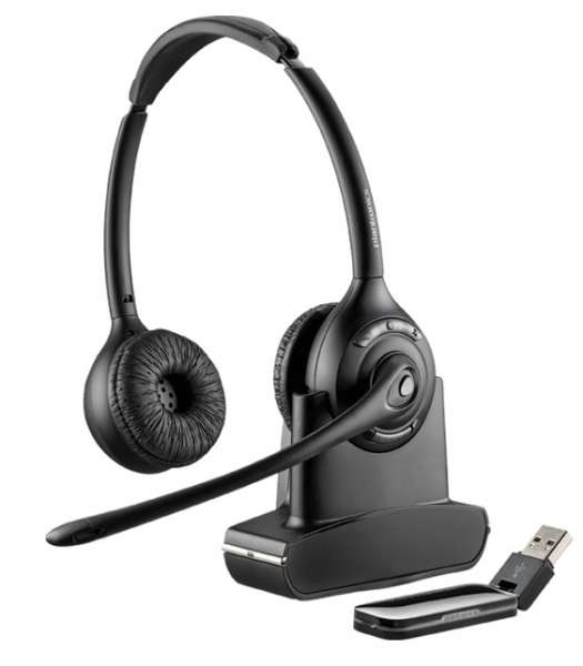 Poly Savi W420 Duo DECT NC Headset mit D100 DECT USB Dongle für PC Softphone