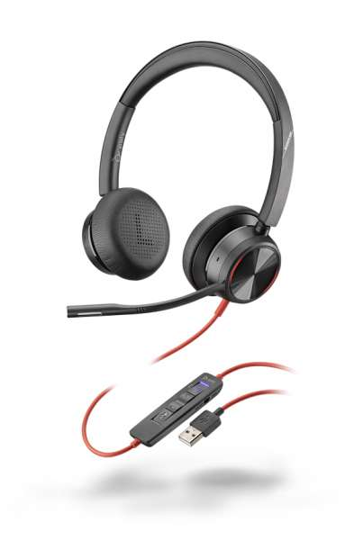 Poly Blackwire 8225-M USB-A ANC Duo NC Headset mit Active Noise Cancelling & CallControl für Microso