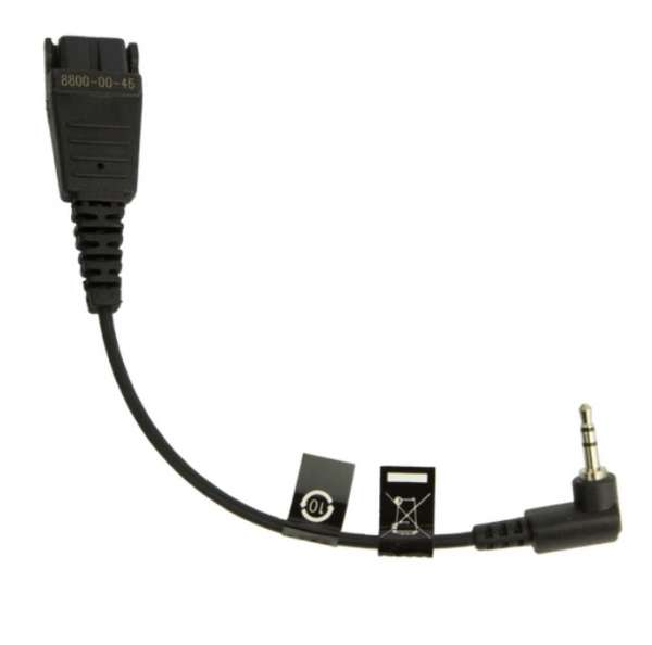 Jabra 00-46 Anschlusskabel QD auf 2,5mm gewinkelter Klinke Stecker z.B. Gigaset & Panasonic & Cisco