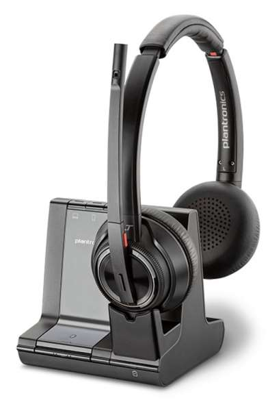 Poly Savi 8220 Duo ANC Office DECT NC Headset mit Active Noise Cancellation für Festnetz, PC Softpho