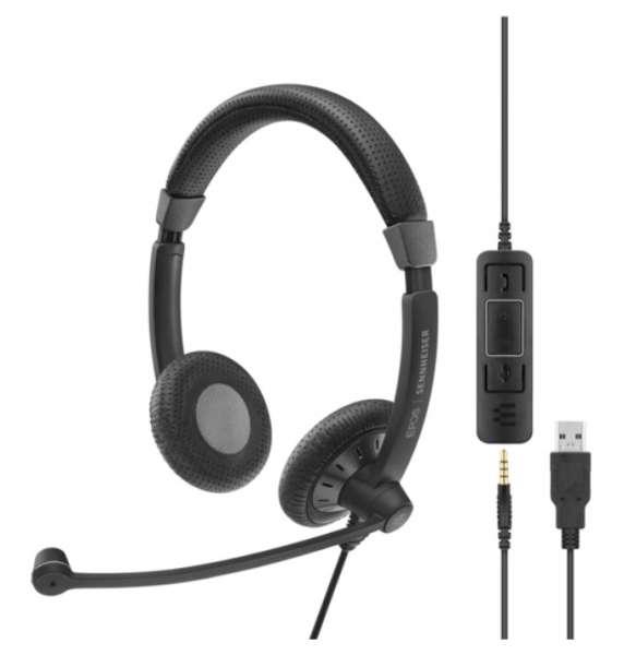 EPOS | SENNHEISER SC 75 USB-A & 3,5mm Klinke ML/UC Duo NC Headset mit CallControl für UC/Microsoft