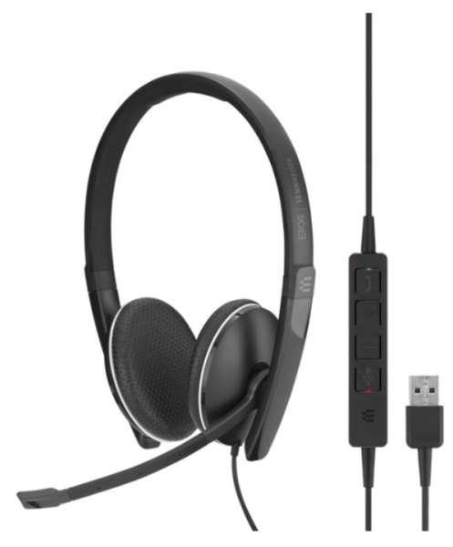 EPOS | SENNHEISER ADAPT SC 165 USB-A & 3,5mm Klinke ML/UC Duo NC Headset mit CallControl für UC/Micr