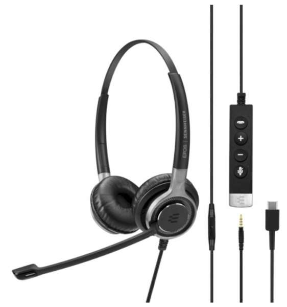 EPOS | SENNHEISER IMPACT SC 665 USB-C & 3,5mm Klinke ML/UC Duo UNC Headset mit CallControl für UC/Mi