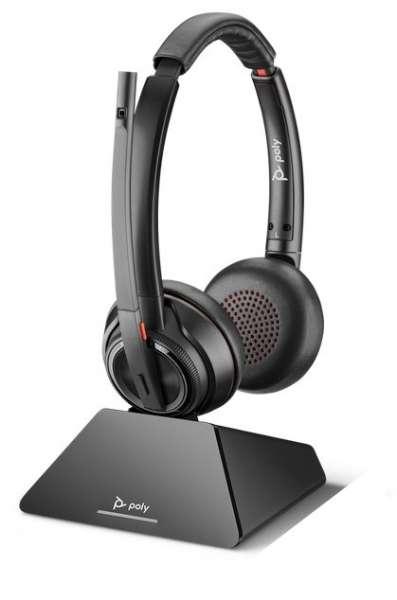 Poly Savi 8220 UC-M USB-C USB Duo ANC DECT NC Headset mit Active Noise Cancellation mit D200 DECT US
