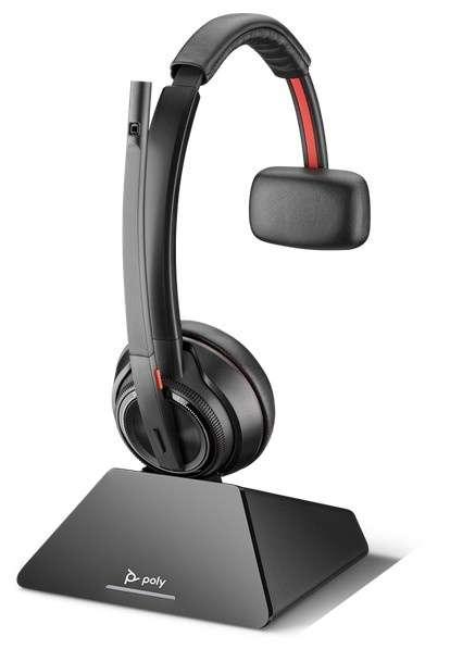 Poly Savi 8210 UC-M USB-C Mono DECT NC Headset mit D200 DECT USB-C Dongle für PC Softphone für Micro