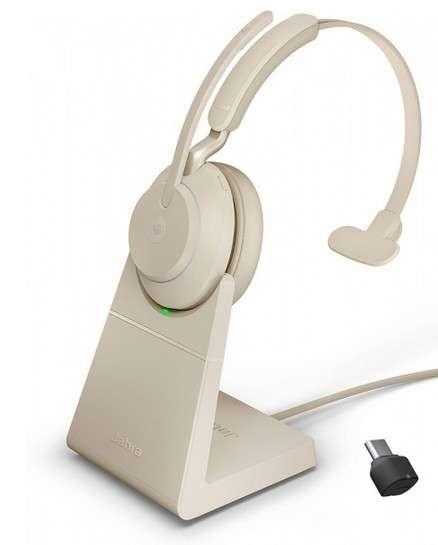 Jabra Evolve2 65 Link380c MS Mono Stand Beige Bluetooth NC Headset inkl. Deskstand & Link 380 USB-C