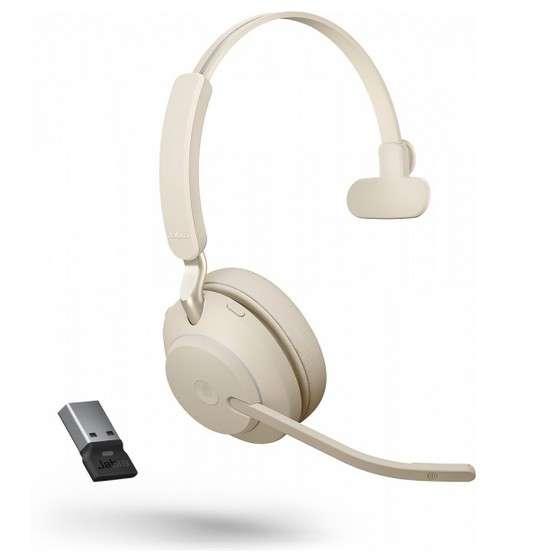 Jabra Evolve2 65 Link380a MS Mono Beige Bluetooth NC Headset inkl. Link 380 USB-A MS Teams BT Dongle