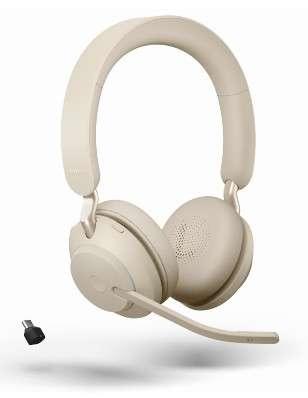 Jabra Evolve2 65 Link380c UC Stereo Beige Bluetooth NC Headset inkl. Link 380 USB-C UC BT Dongle an