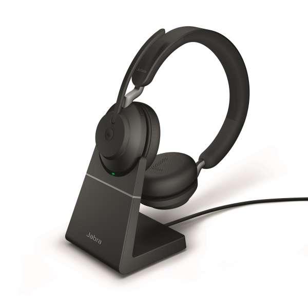 Jabra Evolve2 65 Link380a UC Stereo Stand Black Bluetooth NC Headset inkl. Deskstand & Link 380 USB-