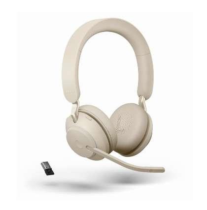 Jabra Evolve2 65 Link380a UC Stereo Beige Bluetooth NC Headset inkl. Link 380 USB-A UC BT Dongle an