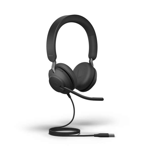Jabra Evolve2 40 MS Teams Duo USB-A Stereo NC Headset mit PNC, Busylight & CallControl für Microsoft