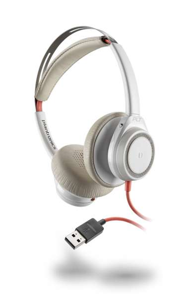 Poly Blackwire C7225 USB-A ANC Duo White NC Headset mit Active Noise Cancelling & CallControl für UC