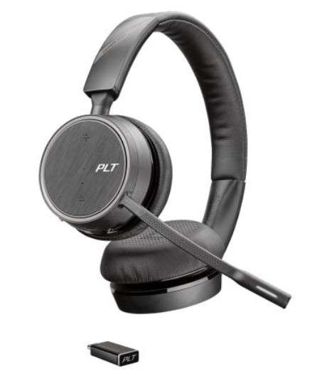 Poly Voyager 4220 UC-M Station USB-A Duo Bluetooth NC Headset inkl. Ladestation & BT600 USB Dongle f