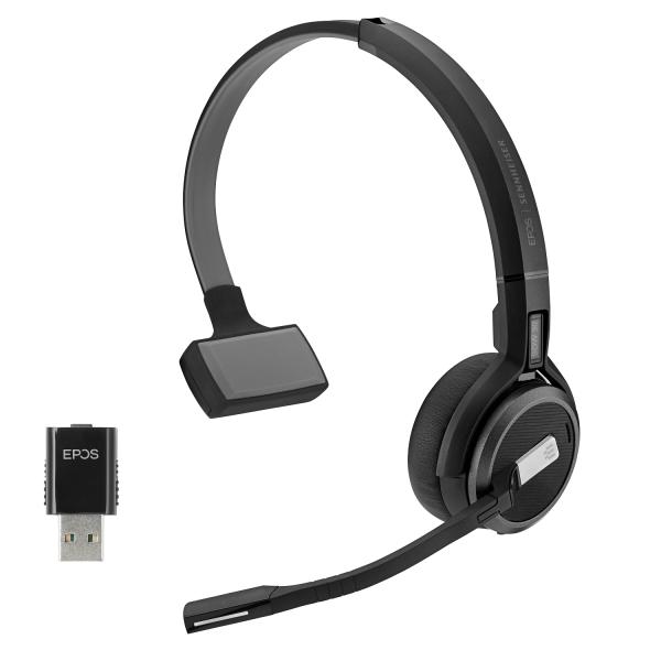 EPOS | SENNHEISER IMPACT SDW 5031 Mono DECT Headset inkl. D1 USB DECT Dongle, USB-A Ladekabel und Ta