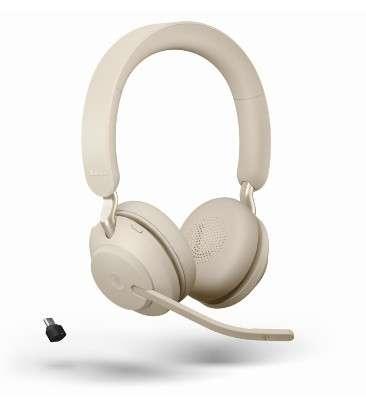 Jabra Evolve2 65 Link380c MS Stereo Stand Beige Bluetooth NC Headset inkl. Deskstand & Link 380 USB-
