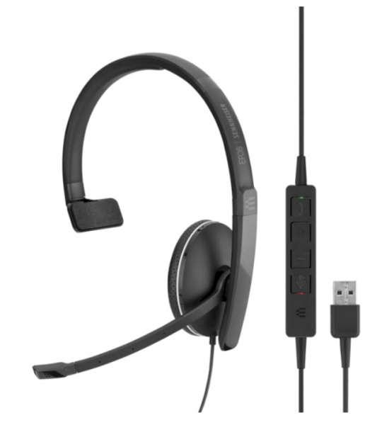 EPOS | SENNHEISER ADAPT SC 135 USB-A & 3,5mm Klinke ML/UC Mono NC Headset mit CallControl für UC/Mic