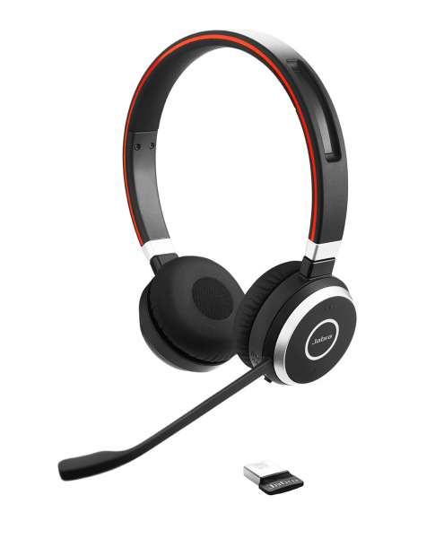 Jabra Evolve 65 UC Duo Bluetooth NC Headset inkl. Link 370 Dongle für PC Softphone/Mobiltelefon