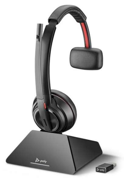 Poly Savi 8210 UC-M USB Mono DECT NC Headset mit D200 DECT USB Dongle für PC Softphone für Microsoft