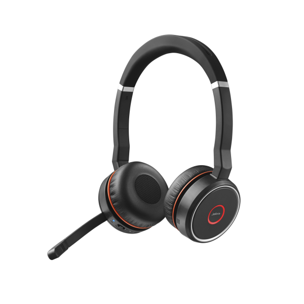 Jabra Evolve 75 UC Duo ANC Bluetooth NC Headset inkl. Link 370 Dongle mit Active Noice Cancellation