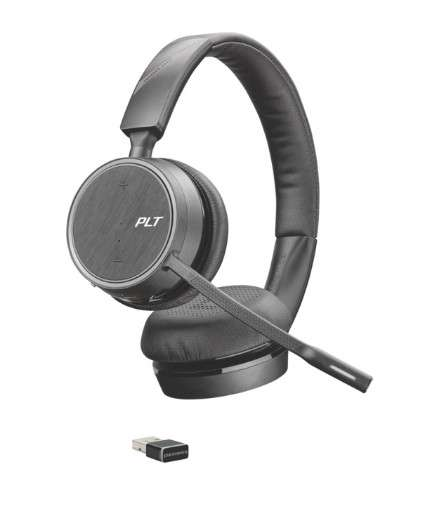 Poly Voyager 4220 UC-M USB-A Duo Bluetooth NC Headset inkl. BT600 USB Dongle für PC Softphone/Mobilt