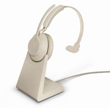 Jabra Evolve2 65 Link380a UC Mono Stand Beige Bluetooth NC Headset inkl. Deskstand & Link 380 USB-A