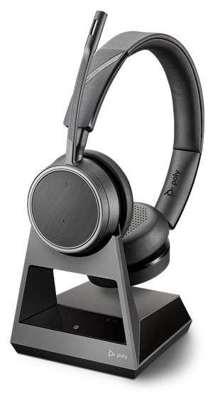 Poly Voyager 4220 Office 1-Way Base Duo Bluetooth NC Headset für Festnetz und Mobiltelefon