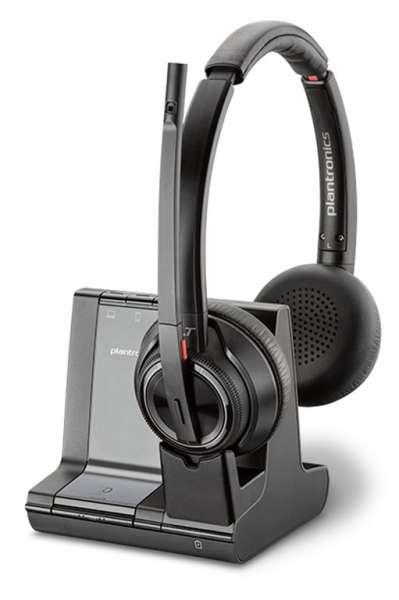 Poly Savi 8220-M Duo ANC Office DECT NC Headset mit Active Noise Cancellation für Festnetz, PC Softp
