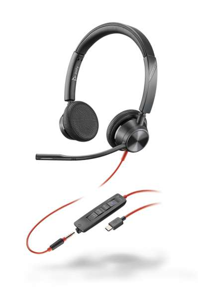 Poly Blackwire 3325-M USB-C & 3,5mm Klinke Duo NC Headset mit CallControl für Microsoft